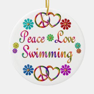 PEACE LOVE SWIMMING ROUND CERAMIC ORNAMENT