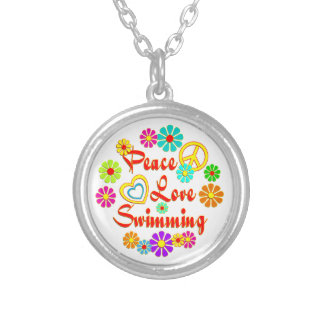 PEACE LOVE Swimming Silver Plated Necklace