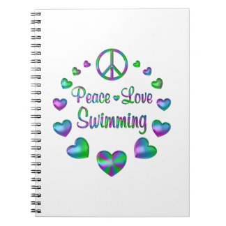 Peace Love Swimming Spiral Note Book