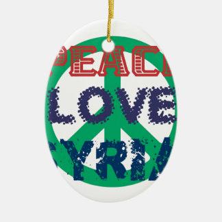 peace love syria ceramic oval ornament