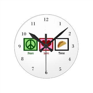 Peace Love Tacos Round Clock