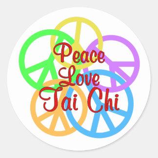 Peace Love Tai Chi Classic Round Sticker