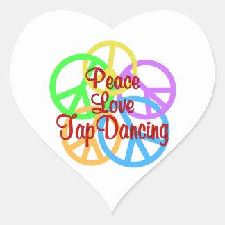 Peace Love Tap Dancing Heart Sticker