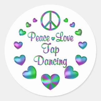Peace Love Tap Dancing Round Sticker