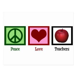 Peace Love Teachers Postcard