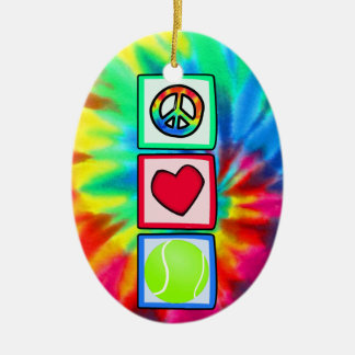 Peace, Love, Tennis Ceramic Ornament