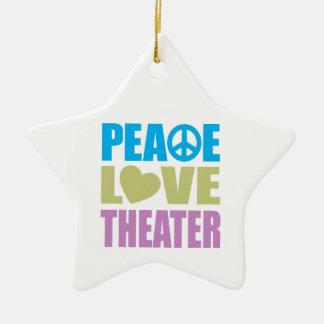 Peace Love Theater Ceramic Star Ornament