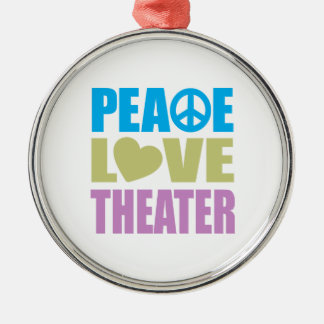 Peace Love Theater Silver-Colored Round Ornament