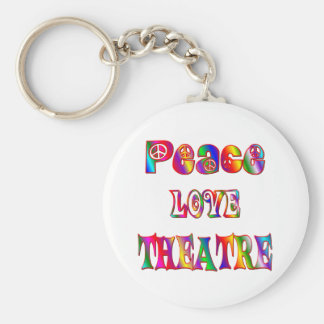 Peace Love Theatre Basic Round Button Keychain