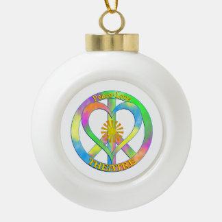 Peace Love Theatre Ceramic Ball Ornament