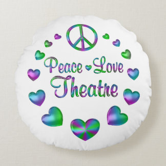 Peace Love Theatre Round Pillow