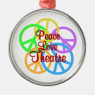 Peace Love Theatre Silver-Colored Round Ornament