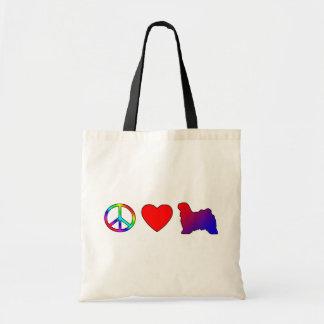 Peace Love Tibetan Terriers Tote Bag