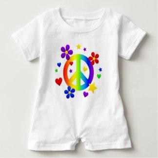 PEACE LOVE TIE DYE HIPPIE SYMBOL BABY ROMPER