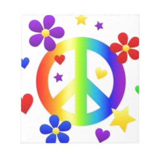 PEACE LOVE TIE DYE HIPPIE SYMBOL NOTEPADS