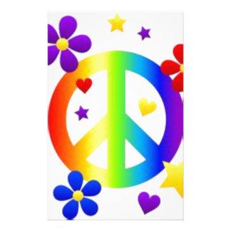 PEACE LOVE TIE DYE HIPPIE SYMBOL PERSONALIZED STATIONERY