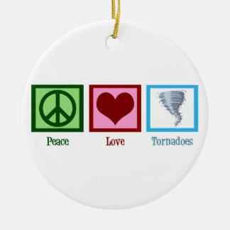 Peace Love Tornadoes Round Ceramic Ornament