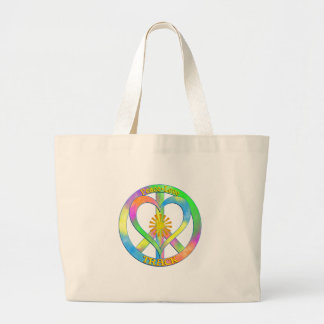 Peace Love Track Large Tote Bag
