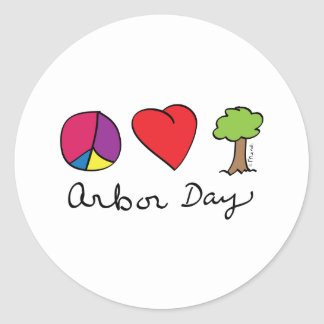 Peace Love & Trees - Arbor Day Classic Round Sticker