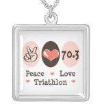 Peace Love Triathlon Sterling Silver Necklace