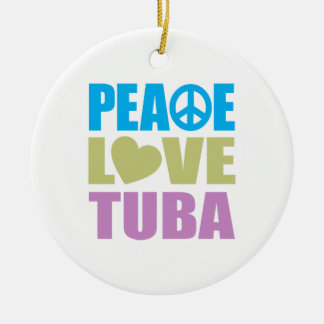 Peace Love Tuba Round Ceramic Ornament