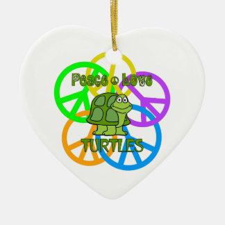 Peace Love Turtles Ceramic Ornament