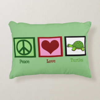 Peace Love Turtles Cute Green Decorative Pillow