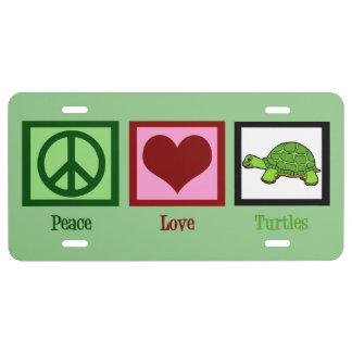 Peace Love Turtles License Plate