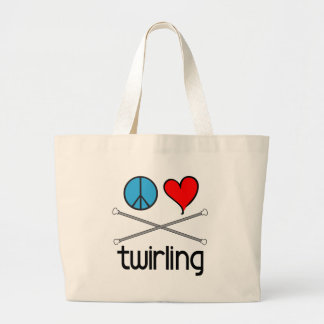 Peace Love Twirling Large Tote Bag