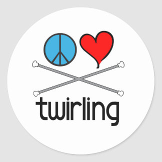 Peace Love Twirling Round Sticker