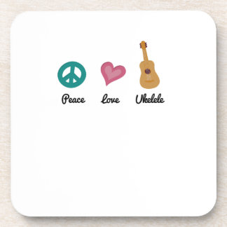 Peace Love Ukelele  Uke Music Lover Funny Gift Coaster