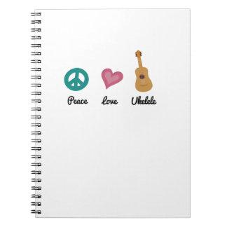 Peace Love Ukelele  Uke Music Lover Funny Gift Notebook