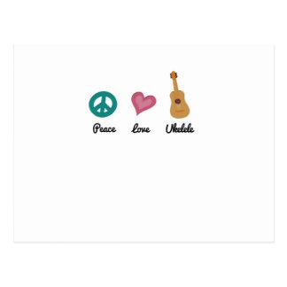 Peace Love Ukelele  Uke Music Lover Funny Gift Postcard