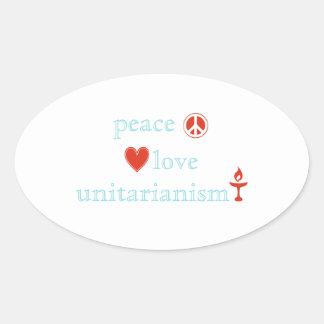 Peace Love Unitarianism Oval Sticker