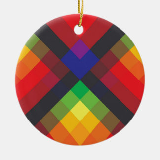 Peace, Love, Unity, Respect Abstract Round Ceramic Ornament