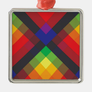 Peace, Love, Unity, Respect Abstract Silver-Colored Square Ornament