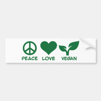 Peace love vegan bumper sticker