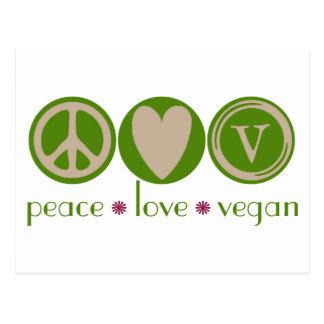 Peace Love Vegan Post Cards