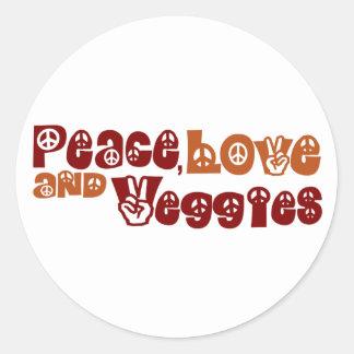 Peace Love Veggies Round Sticker
