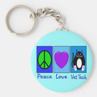 Peace Love Vet Tech Basic Round Button Keychain