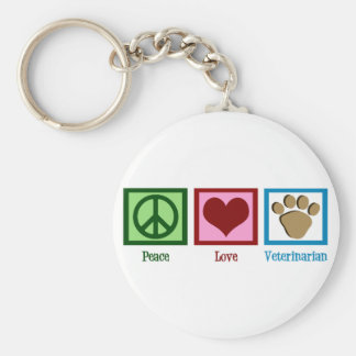 Peace Love Veterinarian Keychain