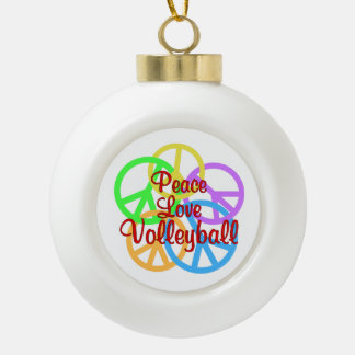 Peace Love Volleyball Ceramic Ball Ornament