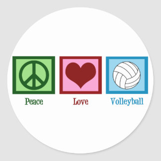 Peace Love Volleyball Classic Round Sticker