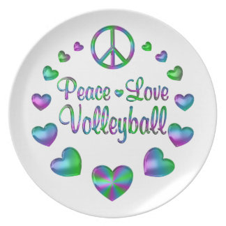 Peace Love Volleyball Plate