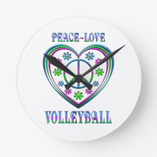 Peace Love Volleyball Round Clock