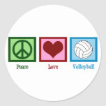 Peace Love Volleyball Round Sticker