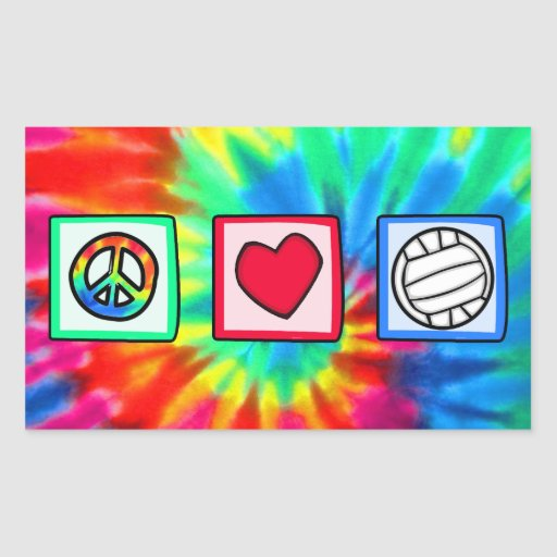 Peace, Love, Volleyball Rectangular Stickers