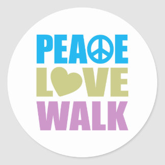 Peace Love Walk Round Sticker