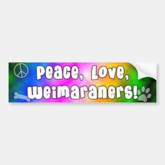 Peace Love Weimaraners Bumper Sticker
