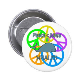 Peace Love Whales 2 Inch Round Button